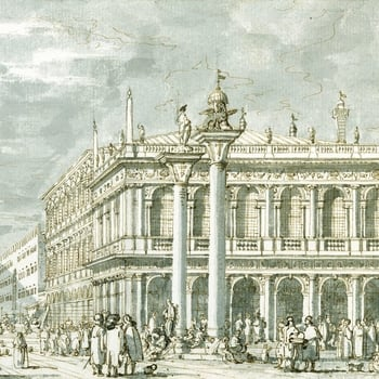 A drawing of the Libreria and the Molo in Venice. The Molo is the broad stone quay in front of the Palazzo Ducale and Libreria. The Libreria dominates the composition, but the two columns of San Teodoro and San Marco are depicted in front of the building.