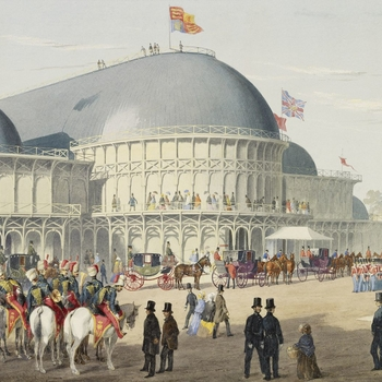 A watercolour showing the Exhibition building, with the royal carriages arriving from the left. The Mounted Band of the 11th Hussars is visible in the left foreground. 