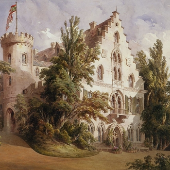 A watercolour view of the exterior of the Rosenau, with a flag flying from the round tower to left. Signed and dated
