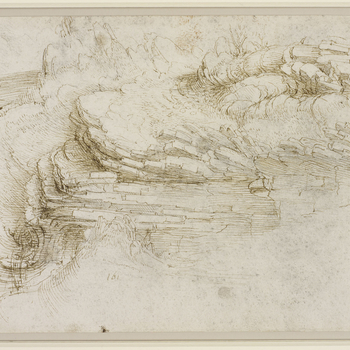 A drawing of a hilltop with stratified rock bursting out of the ground and heaps of fragmented boulders in the right background.Melzi's number 161. The perspective and scale, and the relationship between the parts of the drawing, are hard to grasp &