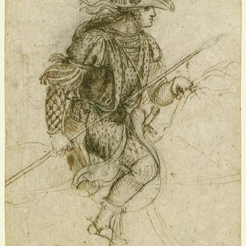 A drawing of a young man on horseback, in profile to the right. He wears a masquerade costume, with many feathers, ribbons, and other elaborations. He carries a lance in his right hand. Melzi's number <em>87</em>.<br> <br>As a court artist in France