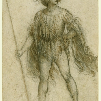A drawing of a young man, seen from the front, striding half to the left, with his head turned to the right. He wears a masquerade costume, a cap with a feather and a beribboned doublet, with flowing sleeves. His left hand is on his hip, and in his right