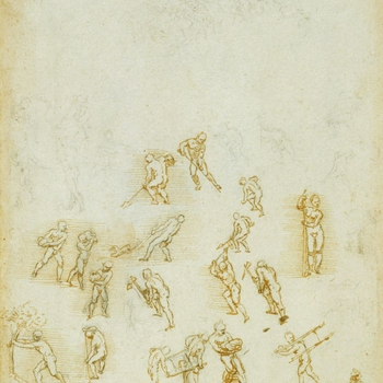 This is one of a sequence of sheets containing about a hundred thumbnail sketches, attempting to capture every action of the human body. Elsewhere Leonardo listed 'the 18 actions of man: repose, movement, running, standing, supported, sitting,