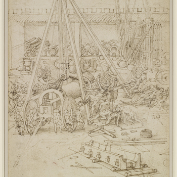 A drawing of the courtyard of a foundry: in the centre stands a crane by which the barrel of a large gun is being hoisted on to a gun-carriage; to the right and left, nude men strain to raise it; mortars are ranged in  the background, along with a gun-car