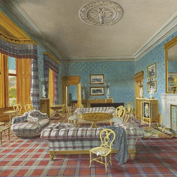 An interior view of the Drawing Room. The Billiard Room can be seen through the open door. Queen Victoria laid the foundation stone of the new castle at Balmoral, designed by William Smith of Aberdeen, on 28 September 1853. Two years later, when the build