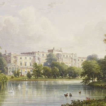 A watercolour of Buckingham Palace, depicting John Nash's garden front before Edward Blore's alterations of 1846-9. A figure with a dog walking beyond the lake may represent the Queen. Signed and dated, lower left: C R Stanley Augt 17. 1839.   This waterc