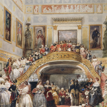 A watercolour depicting guests ascending the stairs on arrival at the ball, including Ladies in waiting. The men wear uniforms or Scottish dress. Four large portraits are on the walls, together with decorated reliefs and stencils. Signed.<br> <br>The Fren