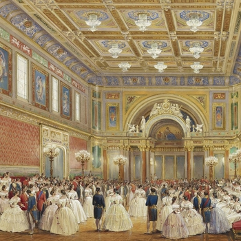 A watercolour of a ball, with the Queen seated on her throne at the far end of the room. Signed and dated.