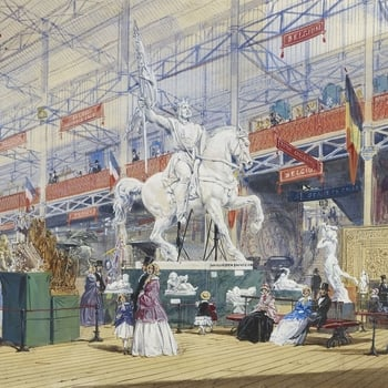 A watercolour depicting a number of statues in the Belgian section of the Great Exhibition, including the plaster cast of the bronze statue of Godfrey de Bouillon by Eugène Simonis, which still stands in the Place Royale in Brus