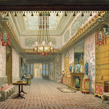 <p>A hand coloured print depicting a view of the gallery in the Royal Pavilion, Brighton. For an earlier state see RCIN 708000.af. Plate 15 of the reissue of Nash's original publication of illustrations of the exterior and interio