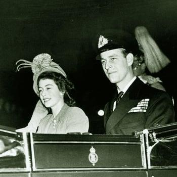 Princess Elizabeth and the Duke of Edinburgh leaving for Waterloo Station at the start of their honeymoon