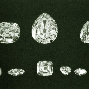Photograph of the nine complete diamonds cleft from the Cullinan Diamond.