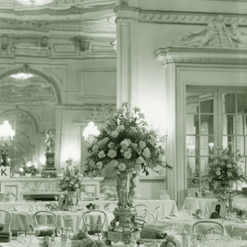 Photograph showing the floral decorations placed on Princess Elizabeth's breakfast table at Buckingham Palace designed by Edward Goodyear to celebrate the Princess's wedding to Prince Philip, November 1947.