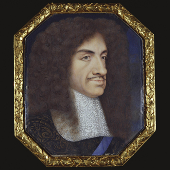 A number of miniatures of Charles II said to be by Samuel Cooper were acquired from Rundell, Bridge and Rundell in the early-nineteenth century.  By the mid-nineteenth century this miniature had come to be regarded as one of Cooper's finest portraits of C