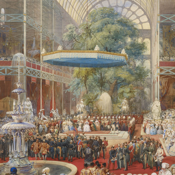 A watercolour depicting the royal party on the dais under the baldacchino, at the crossing of the Crystal Palace, with Prince Albert standing at the head of the Commissioners, reading their report to the Queen. The verso is inscribed with the title, date
