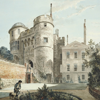 A watercolour drawing of the Norman Gateway, Windsor Castle, seen from the Moat Garden. At the centre, a pedimented facade with sash windows. In the foreground, a boy is watering a circular bed at the centre of the garden, watched by a dog. The sheet is c