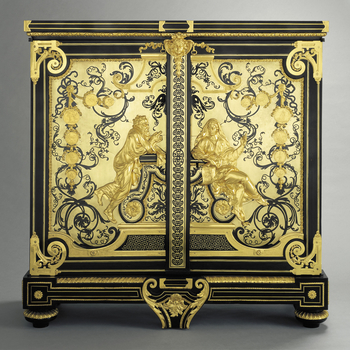 Pair of upright rectangular ebony and boullework cabinets; each with two doors mounted in gilt bronze with a kneeling, bearded, man (Socrates) and seated woman (Aspasia), who holds architectural designs in her right hand and points with her left; surround
