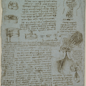 Recto: notes on the valves of the heart and the flow of blood within it, with illustrative drawings; a drawing of a mould for the making of a glass model of the pulmonary or aortic valves.<br> <br>Leonardo's analysis of the heart was the m