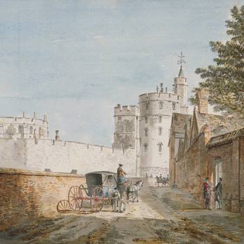 A watercolour drawing of Windsor Castle from Castle Hill, with the Devil's Tower (Edward III Tower) in the centre and the Round Tower on the left. At the centre, a lady with a basket stopping next to the passenger window of a coach and horse. On the right