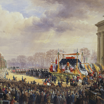 A watercolour showing the funeral procession of the Duke of Wellington passing Apsley House before proceeding along Piccadilly. SIgned and dated bottom right: L Haghe / 1854. The Duke - a national hero due to his victory over Napoleon at the Battle of Wat