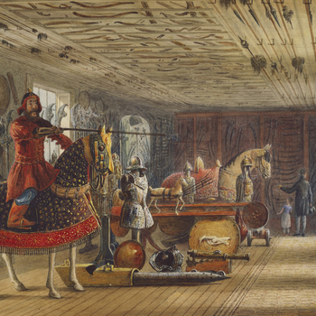 <p>A watercolour view of the armoury at Carlton House, with the figures&nbsp;of what are presumably visitors&nbsp;in the background.</p> <p>The large Armoury at Carlton House, the Prince Regent's London residence, was considered, according to contemporar