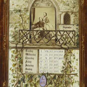 A desk calendar with an engagement photograph by Ghemar Freres of The Prince of Wales and Princess Alexandra of Denmark (later Edward VII & Queen Alexandra) surrounded by Gothic window and trailing ivy in watercolour, with moveable date strips; within