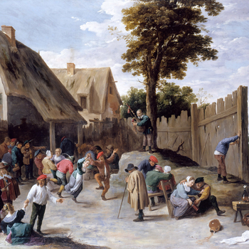 This is an unusually large scene and one of the earliest in Teniers's career, dating from c. 1640. The theme comes ultimately from the work of Pieter Bruegel the Elder, the ideas perhaps transmitted through his son, Jan Breughel I (see for example CWLF 9,