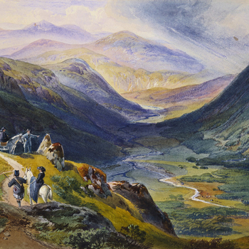 A watercolour view of Carn Lochan overlooking the River Isla with a royal group and attendants on the left; Prince AlbertleadsQueen Victoria's pony; Prince Louis of Hesse stands beside his fiancé Princess Alice's pony and a guide leads