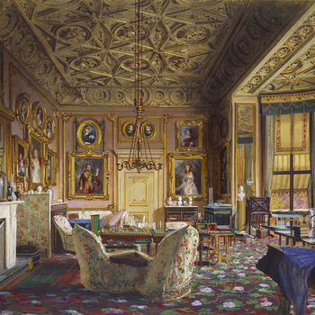 A watercolour showing adetailed interior view of the Queen's Sitting Room at Buckingham Palace. Signed and dated.  The pictures shown on the walls are all newly painted portraits of closemembers ofQueen Victoria's family. Over them