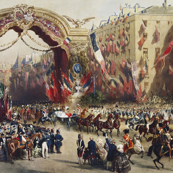 A watercolour and bodycolour drawing of Queen Victoria's arrival into Paris. The royal partyistravelling by carriage under a temporary triumphal arch erected close to the Rue Le Peletier, at the junction of the Boulevard des Italiens and the B