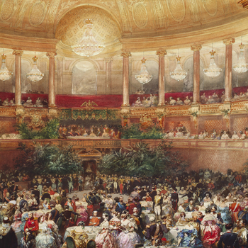 A watercolour drawing of the theatre at the chateau of Versailles used for supper during the ball on 25 August 1855. The royal and imperial party are seated inthe royalbox ofMarie-Antoinette, under a green banner and the imperial eagle.