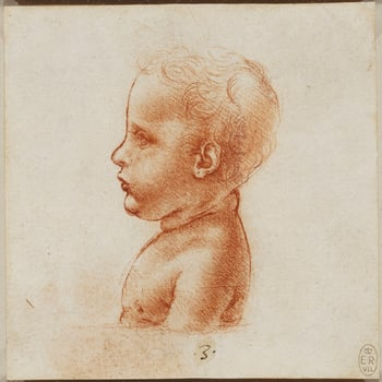 A delicate profile drawing of the bust of a child, turned in profile to the left and terminating at a clear horizontal line. Melzi's number <em>3</em>.<br> <br>This drawing is related to&nbsp;two other studies of the bust of a child, RCIN 912567. The ches