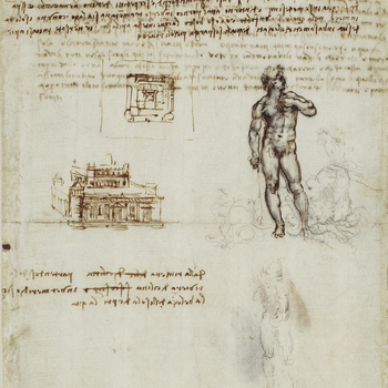 Recto: a drawing of a nude figure of a man, standing facing the spectator, with his head turned in profile to the right; at his feet are sea-horses.  Below is a faint sketch of the same figure. On the left is a fortified building, with a plan of the same