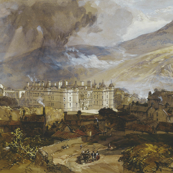 A watercolour depicting a distant view of the Palace of Holyroodhouse, with the remains of the ancient abbey on the left, assorted buildings and houses facing the front entrance at the bottom of the Royal Mile andArthur's Seatbeyond. This view