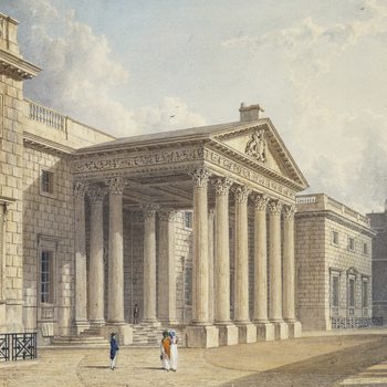 Portico of Corinthian columns in front of the main house, with frieze and ornamental carving. Now part of the side porticoes at the National Gallery. The portico was a porte-cochiere, so carriages could drive through to the door.Published in Pyne's Royal