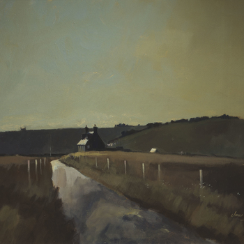 An extensive landscape showing a country road leading to a cottage, with hills beyond.