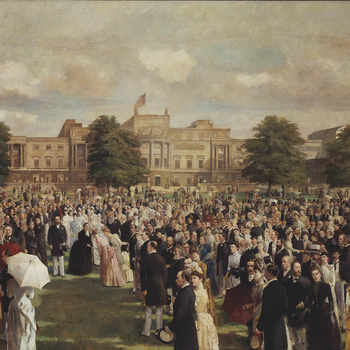 The scene depicts Queen Victoria's Golden Jubilee Garden Party in the gardens at Buckingham Palace. The west-front of Buckingham Palace, designed by John Nash appears as a backdrop. Queen Victoria, centre left, with the Prince of Wales (later King Edward