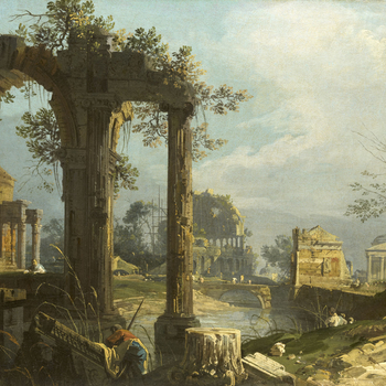 Both this painting and RCIN 405078 show a great debt to Marco Ricci's capricci, both in oil and in tempera on leather, which Canaletto would have been able to study in Consul Joseph Smith's collection. The compositions, with large ruined arch or arches in