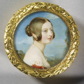 This miniature was painted soon after Prince Albert's return to Coburg on 14 November 1839 having accepted Queen Victoria's proposal of marriage. The Queen recorded a sitting of 1 hour 40 minutes on 26 November, 'for a picture for dearest Albert'; and on