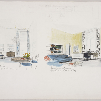 Two designs, on one sheet of paper, for interiors at Buckingham Palace. On the left, an ink and watercolour drawing of a design for the Duke of Edinburgh's Study; looking north, with a table and chairs in the foreground. On the right, a watercolour design
