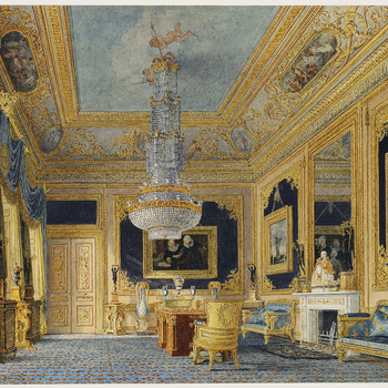Like most of the rooms at Carlton House, the Blue Velvet Room and the adjoining Closet underwent a considerable number of changes of decoration and nomenclature from the time that George IV took up residence in 1783 to the time he abandoned the house to t