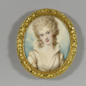 Cosway painted several miniatures of the Duchess of Devonshire from the time of her marriage in 1774 onwards. This miniature relates closely to a miniature at Althorp which has the same head but a slightly less fanciful dress. Georgiana, who was the daugh