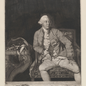 Mezzotint of George III as king. Three quarter length with tied wig, plain tie, embroidered coat with Garter star, and sash over left shoulder. Seated with left hand on leg and right resting at hip, and with a tricorne and sword placed on a table to the l