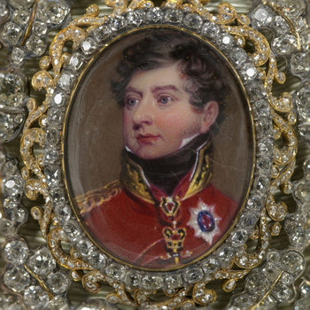 In this miniature by Henry Bone the Prince Regent is wearing field marshal's uniform, miniature ribbons, the Order of the Golden Fleece and the stars of the Orders of the Garter, Holy Spirit, Black Eagle and St Andrew. It is one of many copies