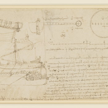 Drawing of Leonardo's machine inventions