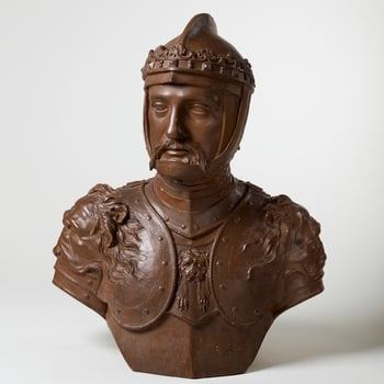 Terracotta bust of the Black Prince, his head turned slightly to the right, wearing armour and helmet with coronet; brown wash.  Rysbrack depicts Edward the Black Prince, the son of King Edward III and Prince of Wales, as a military hero, wearing a coro
