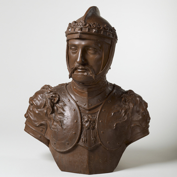 Terracotta bust of the Black Prince, his head turned slightly to the right, wearing armour and helmet with coronet; brown wash.<br /><br />Rysbrack depicts Edward the Black Prince, the son of King Edward III and Prince of Wales, as a military hero, wearin