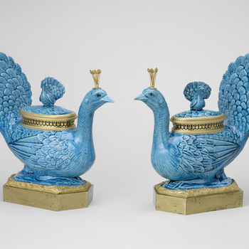 Master: Pair of peacock vases and covers mounted as pots-pourris