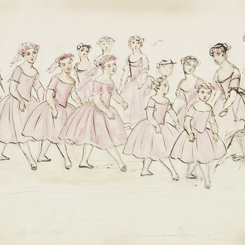 A watercolour showing the Danseuses Viennoises performing the Pas des Moissoneurs from the ballet Kaya, ou l'Amour Voyageur. The troupe of young girls are shown with a line of girls at the front with other girls dancing behind them. They are all dressed i