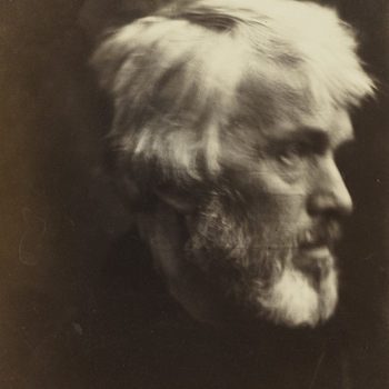 Photograph of Thomas Carlyle, head and shoulders, almost profile right. This portrait of Thomas Carlyle (1795-1881), celebrated historian and essayist, was widely admired by Cameron's artist friends, including Millais, Rossetti and Watts. In 1869 Qu